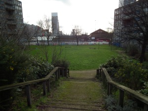 Robin Hood Gardens, with it's future looming in the background...