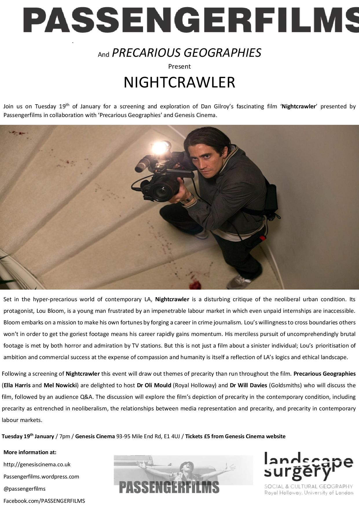 Precarious Geographies and Passenger Films Present Nightcrawler Poster -page-001